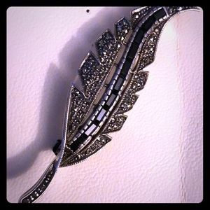 Vintage Sterling Silver, Marcasite, & Sapphire Pin